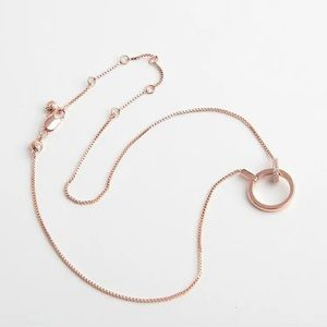 Henri Bendel Pave Link Slider Necklace Rose Gold